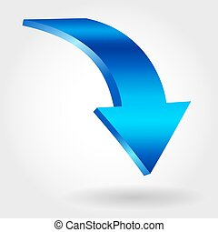 Blue down arrow and neutral white background. 3D illustration