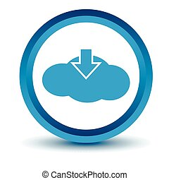 Blue download cloud icon