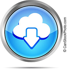 blue download from cloud icon