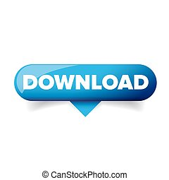 Blue Download glossy web button vector