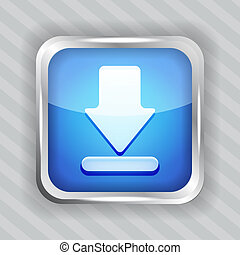 blue download icon on a striped background