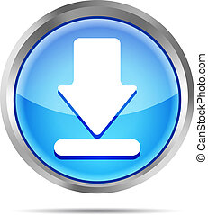 blue download icon on a white