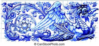 Blue Dragon Azulejo Ceramic Tile Magnet Souvenir Realistic...