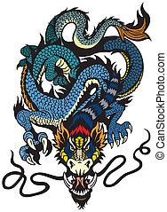 blue dragon tattoo illustration isolated on white background