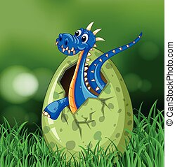 Blue dragon hatching egg on grass