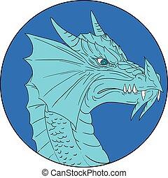 Blue Dragon Head Angry Circle Drawing