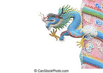 Blue dragon pole isolated on white background