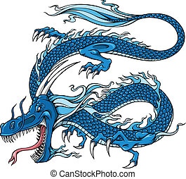 Blue Dragon Vector Illustration art