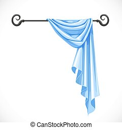 Blue drapery hanging on forged cornice isolated on a white background