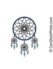 Blue dreamcatcher with feathers isolated on white background. Native american indian dream catcher. Vector illustration