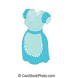Blue dress and white apron icon, cartoon style