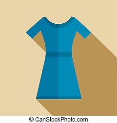 Blue dress icon in flat style