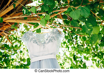 Blue dress of the bride on a wooden hanger on the branches of a tree with leaves during the day.