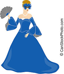 Blue Dressed Masked Woman - Woman with brown hair holding a...
