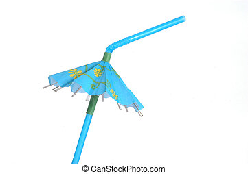 Blue tropical drink umbrella isolated on a white background.