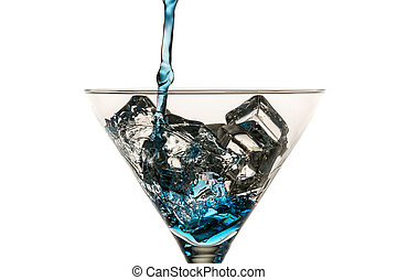 Blue drink with lots of ice cubes on white background