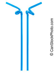 blue drinking straw isolated on white with clipping path