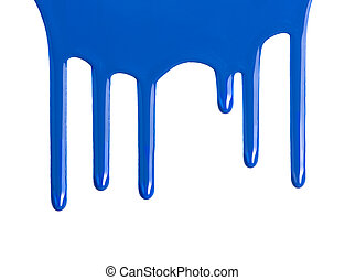 Blue dripping paint against a white background