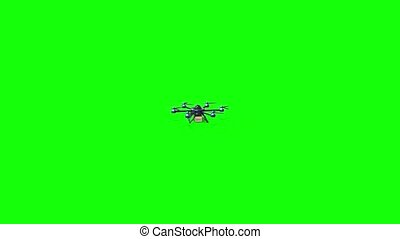 Blue drone delivers the goods. Hexacopter designed to carry. The camera flies up to a drone at close distance. Green background for video.