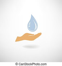 Blue Drop icon in hand silhouette. Save clean water symbol