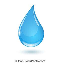 Blue drop towards 2 - Blue drop towards water on white...