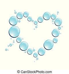 blue drops of water in heart shape