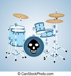 Blue drum kit with a skull