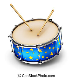 Blue drum with drumsticks