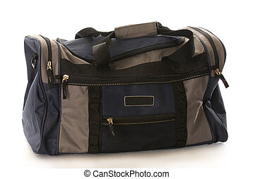 blue dufflelbag - blue and grey duffel or luggage bag with...