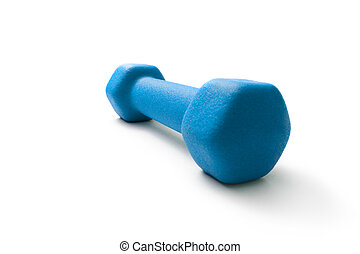 Blue dumbbell on white background