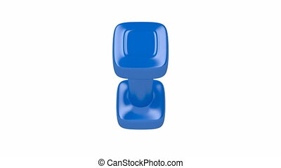 Blue dumbbell spin on white background