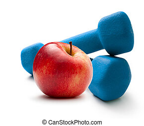 Blue dumbbells and red apple