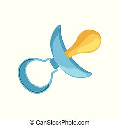 Blue dummy, baby boy pacifier vector Illustration on a white background