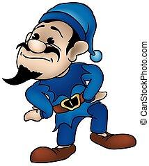 Blue Dwarf - colored cartoon illustration