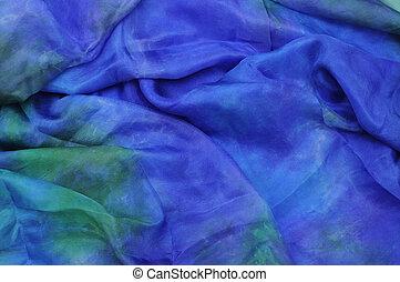 Blue dyed silk drape - Blue silk chiffon drape background...
