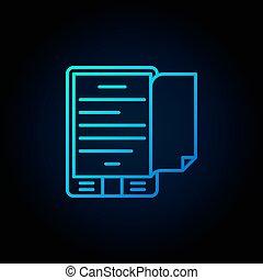 Blue e-book reader concept icon