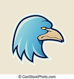Blue Eagle Head Cartoon Icon Vector Illustration