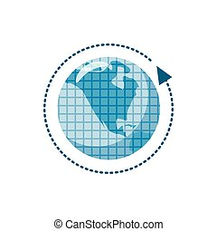 Blue earth and arrow icon, cartoon style