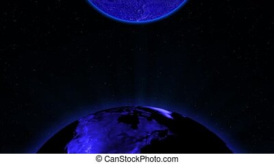 Blue Earth and moon