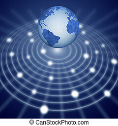 Blue earth floats over communication network system - Blue...