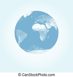 Blue earth globe made with triangles