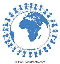 Blue Earth globe with children around it