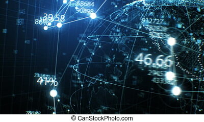 Blue Earth Hologram with Network, Numbers and Dots Seamless Turning in Close-up. Looped 3d Animation with DOF Blur. Futuristic Business and Technology Concept 4k Ultra HD 3840x2160