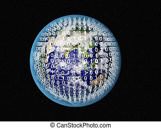 Blue Earth in space with binary code