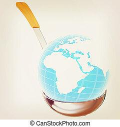 Blue earth on soup ladle . 3D illustration. Vintage style.