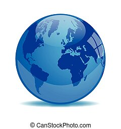 Blue Earth Orb isolated on a white background