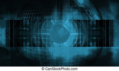 Blue Earth science fiction looping abstract CG animated...