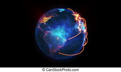 Blue Earth turning on itself with orange network against a...