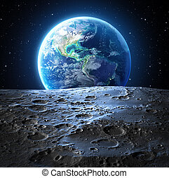 blue earth view from moon surface - Usa