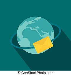 Blue Earth with envelope icon, flat style